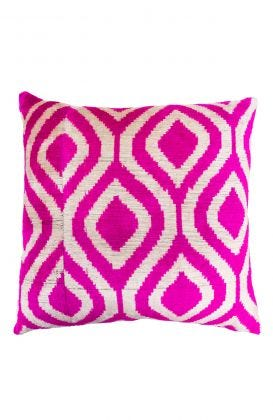Hand Woven Velvet Silk Pillows - Pink Dew Drop Ikat