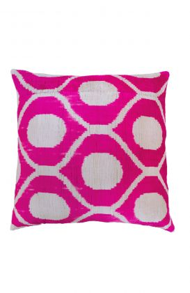Hand Woven Velvet Silk Pillows - Pink Bees Knees Ikat