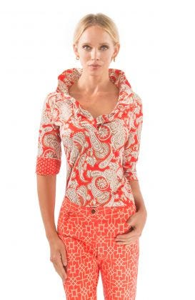 Jersey Ruffneck Top - Plentiful Paisley