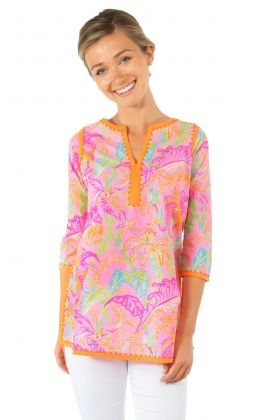Cotton Embellished Tunic - Palm Palm