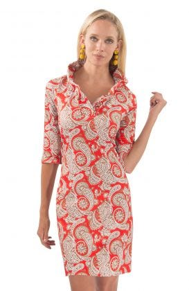 Jersey Ruffneck Dress - Plentiful Paisley
