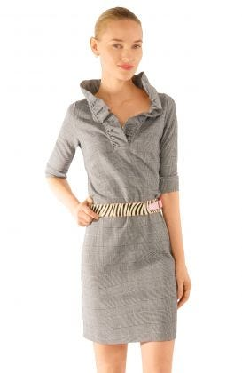 Jersey Ruffneck Dress - The Wall Streeter