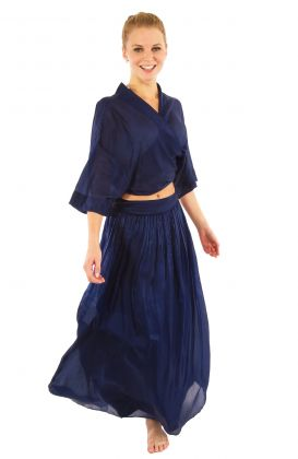 Silk Long Skirt with Sash