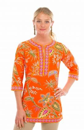 Cotton Split Neck Tunic - Princess