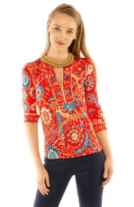 Jersey Split Neck Tunic - Magic Carpet