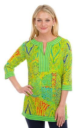 Cotton Split Neck Tunic - Grand Bazaar