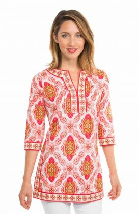 Cotton Split Neck Tunic - Pretty Persian