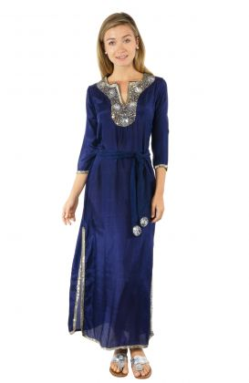 Silk Beaded Dress with Sash - Starry Night