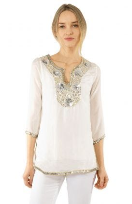 Silk Beaded Tunic - Starry Night
