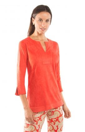 Suede Split Neck Tunic