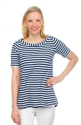 Cotton Spandex Striped Top - Admiral Swing