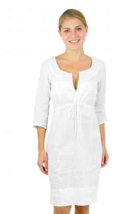 Linen Eyelet Dress - The Swirly