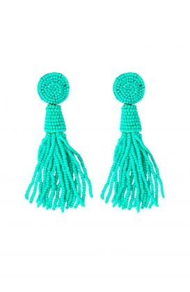 Beaded Glass Clip Tassel Earrings - Johannesburg