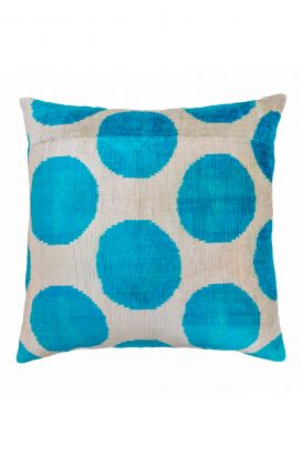 Hand Woven Velvet Silk Pillows - Turq Large Polka Dot Ikat