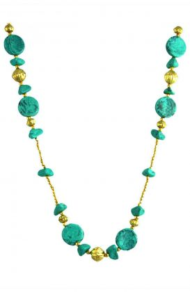 """The Turquoise"" Gold Flat Necklace"