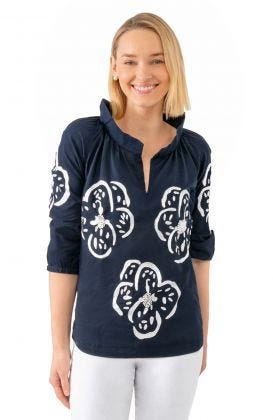 Twombly Floral Embroidered Top