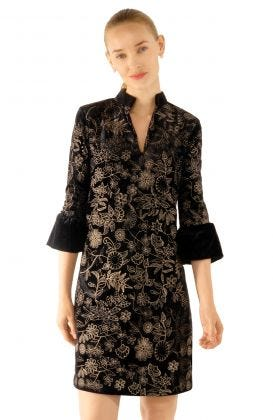 Velvet Embroidered Botanical Dress