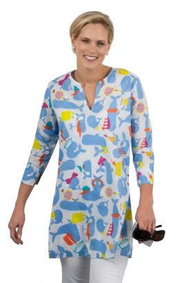 """""""Mommy & Me"""" Mommy Cotton Tunic - Whale Watch"""