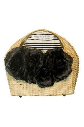 Flowered Basket Handle Bag