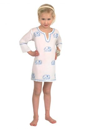 """Mommy & Me"" Girls Cotton Tunic - Hand Embroidered Elephant"
