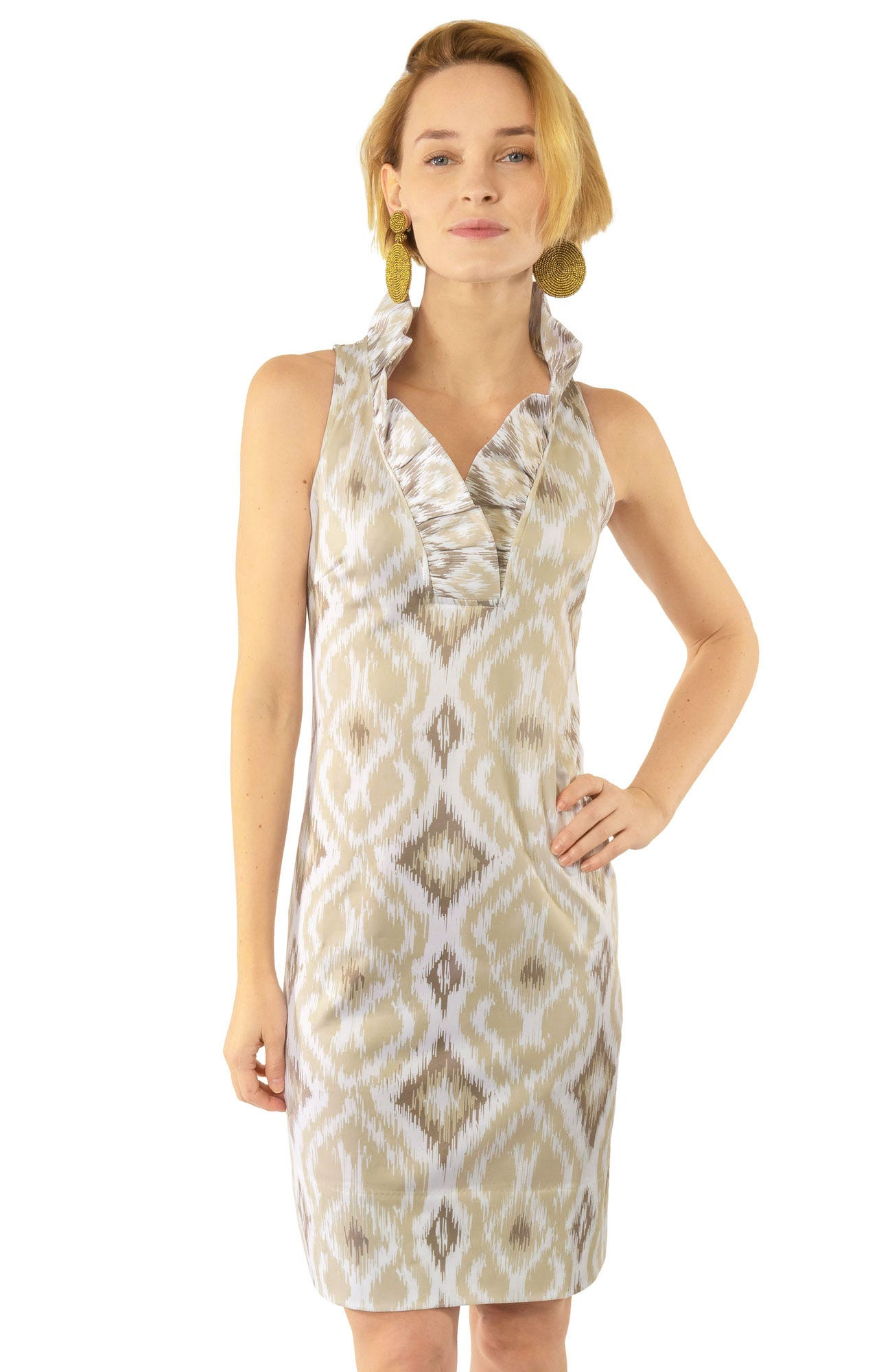 f15da2e3a35 Jersey Ruffneck Sleeveless Dress - Kitt Ikat