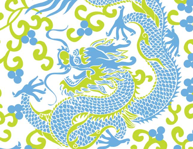 Dancing Dragons Lime/Blue